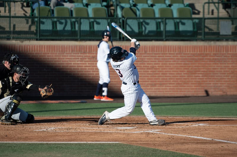 Brayton Brown (3) swings during Auburn Baseball vs UCF on Friday, Feb. 21, 2020, in Auburn, Ala.