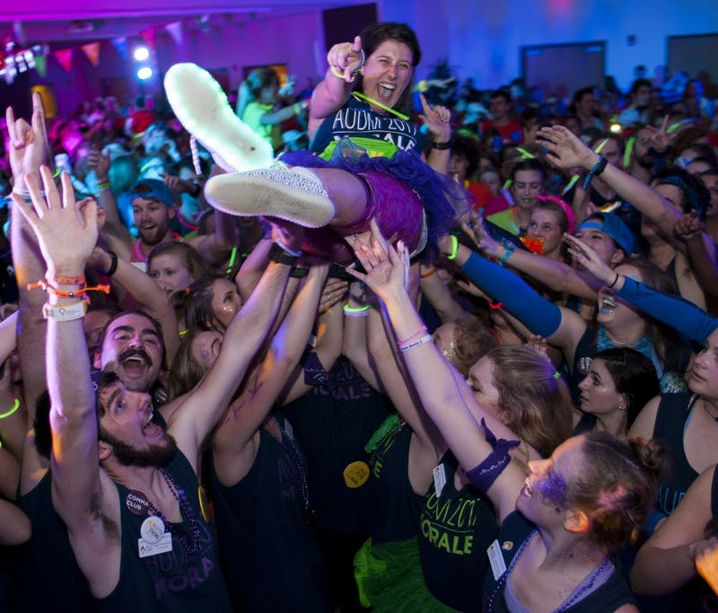 An AUDM Morale Team member crowd-surfs during the marathon. Auburn University Dance Marathon on Saturday, Feb. 11 in Auburn, AL.