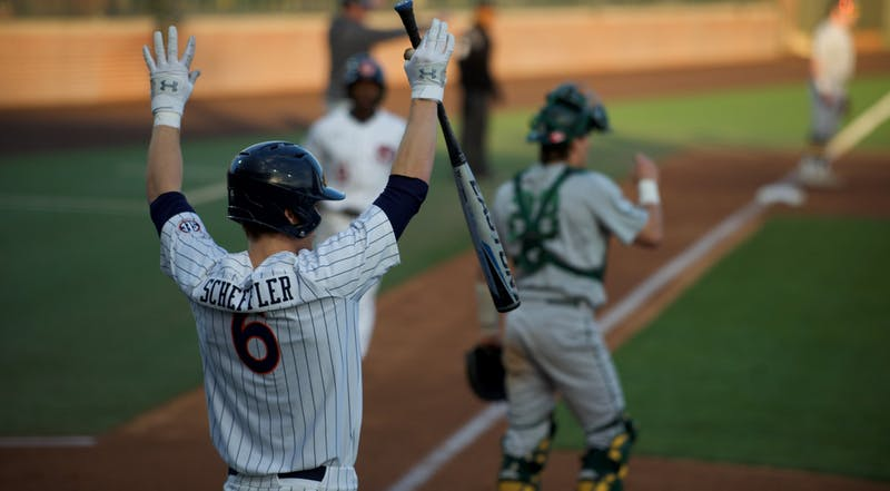 Matt Scheffler (6) celebrates a run in Auburn Baseball vs. Wright State on Feb. 28, 2020 in Auburn, AL