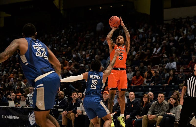 J'Von McCormick (5) shoots during Auburn basketball vs. Saint Louis on Dec. 14, 2019, in Birmingham, Ala. Via Kamp Fender/Auburn Athletics