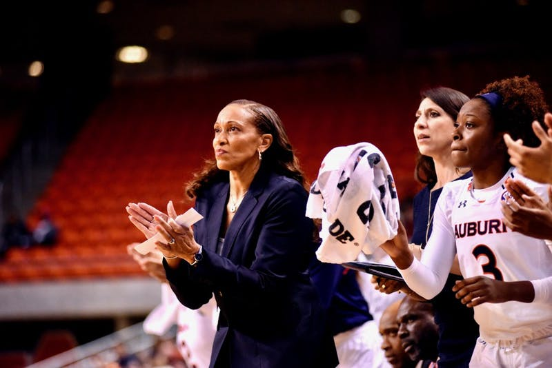 Coach Terri Williams-Flournoy celebrates with the Auburn Tigers during Auburn Women's Basketball vs. Tennessee on Thursday, Jan. 3, 2019, in Auburn, Ala.