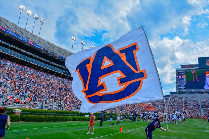 An Auburn Flag waves during A-Day 2019, on Saturday, April 13, 2019, in Auburn, Ala.