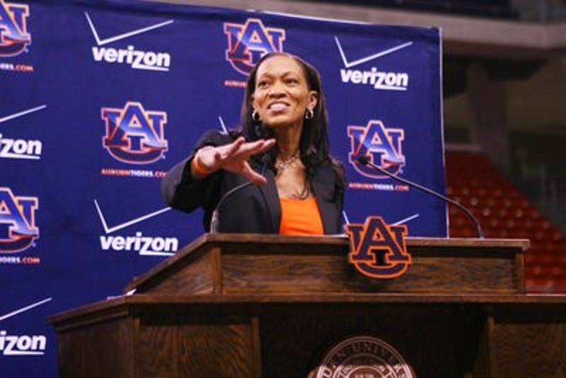 Auburn's new women's basketball coach Terri Williams-Flournoy address the media and fans Tuesday evening at Auburn Arena in her introductory press conference. Williams-Flournoy was head coach of the Georgetown Lady Hoyas for the past eight seasons. (Rebecca Croomes / PHOTO EDITOR)