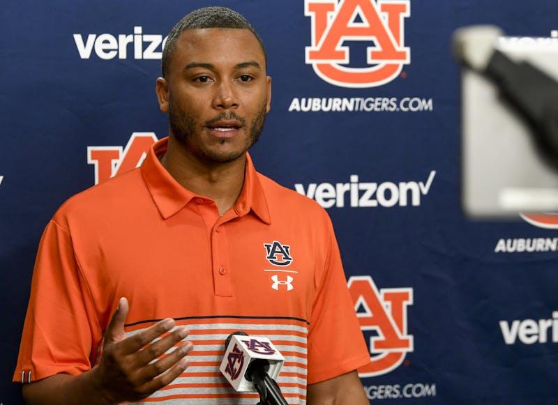 Auburn coach Cornelius Williams talks on Zoom, Tuesday, April 5, 2021 in Auburn, Ala.Todd Van Emst/AU Athletics