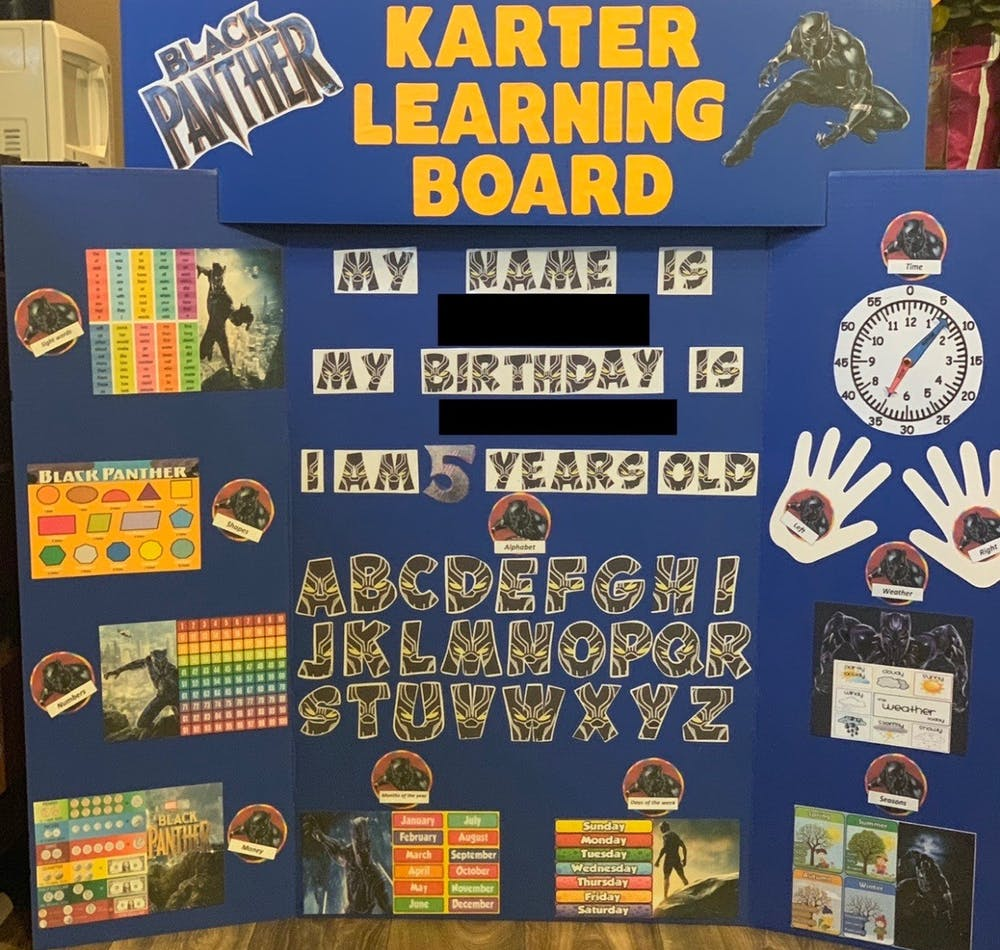 VJ's Learning Boards and Binders helps teach homeschooled children