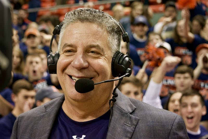 Coach Bruce Pearl smiles during a post-game interview, during Auburn vs. LSU on Sat, Jan. 27, 2018.