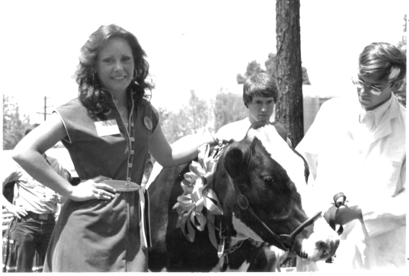 Cindy Murphy, later named Miss Auburn, poses with Bessie the Cow, the winner of the 1979 Miss Auburn election.