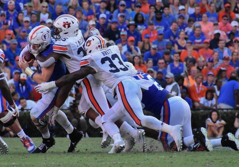 Auburn tackles Florida during Auburn vs. Florida, on Saturday, Oct. 5, 2019, in Gainesville, Fl.