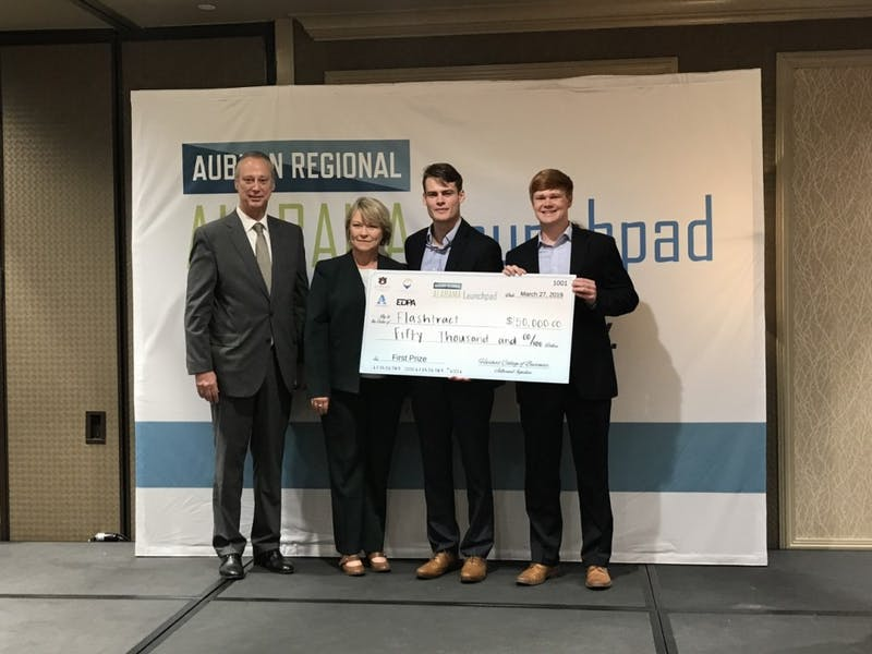 Flashtract win the Regional Alabama Launchpad competition Wednesday, March 27, 2019, in Auburn, Ala.