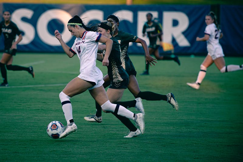 Sydney Richards dribbles past defenders against UAB in Auburn, Alabama, on Sept. 9, 2021at the Auburn Soccer Complex