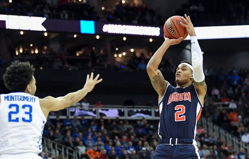 Bryce Brown (2) shoots during Auburn basketball vs. Kentucky on March 31, 2019, in Kansas City, Mo. Photo courtesy Lauren Talkington / The Glomerata.