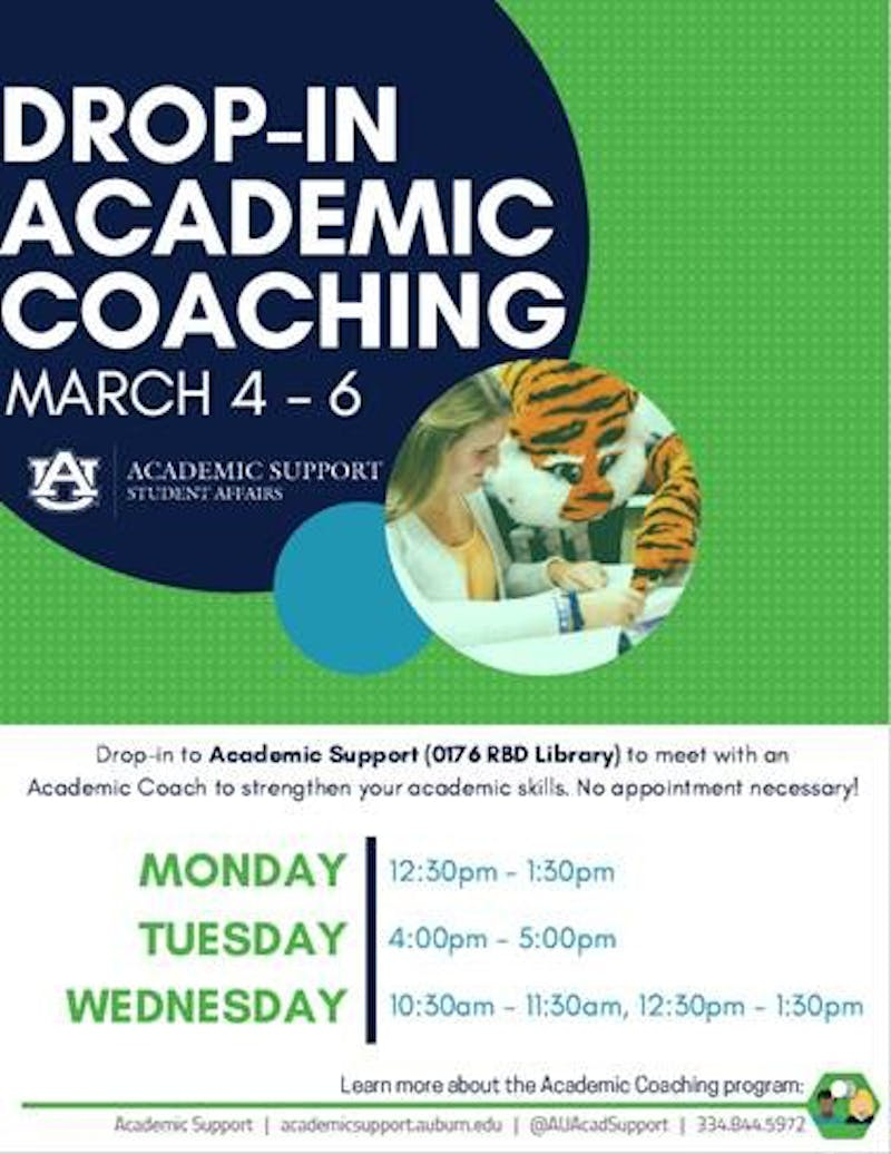 Academic Coaching will continue to offer free, drop-in sessions for mid-term week March 4-6, 2019.