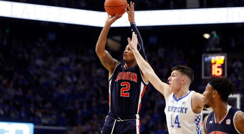 Bryce Brown (2) at Kentucky – Feb. 23, 2019. Credit: Mark Mahan/Auburn Athletics