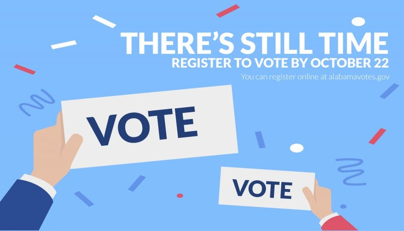 The deadline to register to vote in Alabama is Oct. 22, 2018.