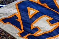 An Auburn flag flies over the field during Auburn football vs Alabama State on Saturday, Sept. 8, 2018, in Auburn, Ala.
