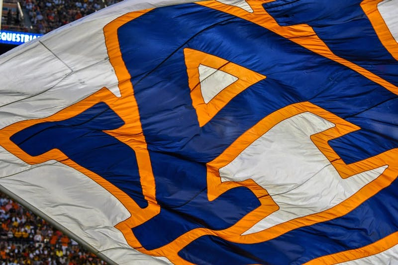 An Auburn flag flies over the field during Auburn football vs Alabama State on Saturday, Sept. 8, 2018, ​in Auburn, Ala.