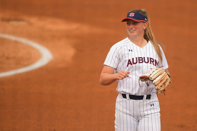 Auburn Tigers Maddie Penta (4) reacts during the game between Auburn and IUPUI  at Jane B. Moore Field on Feb 27, 2021; Auburn, AL, USA. Photo via: Shanna Lockwood/AU Athletics
