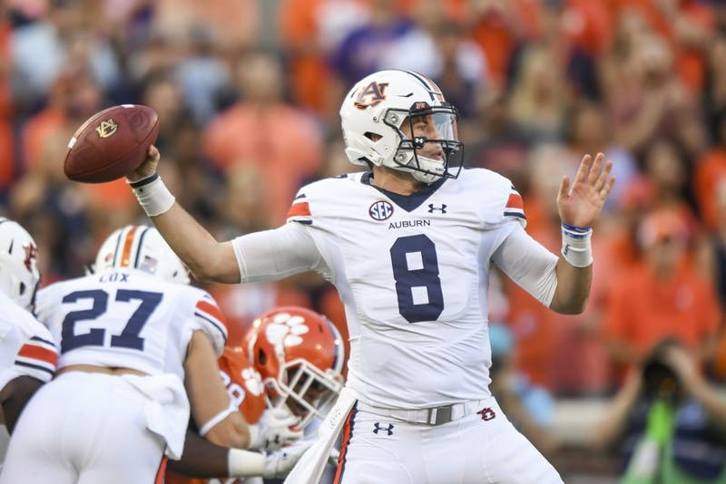 Auburn quarterback Jarrett Stidham (8) will need to carve up Washington's elite secondary if the Tigers are to find offensive success this weekend.