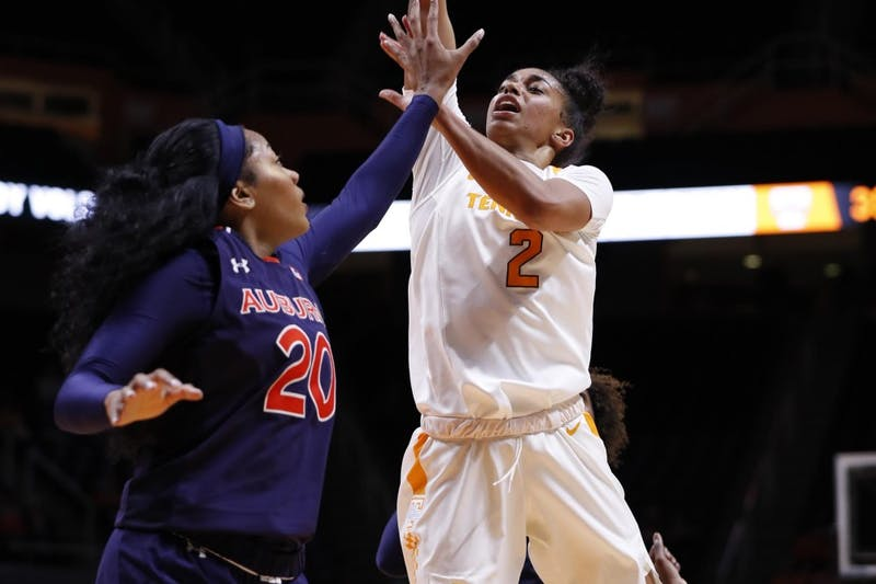 Unique Thompson (20) defends during Auburn women's basketball vs. Tennessee on Feb. 14, 2019, in Knoxville, Tenn.