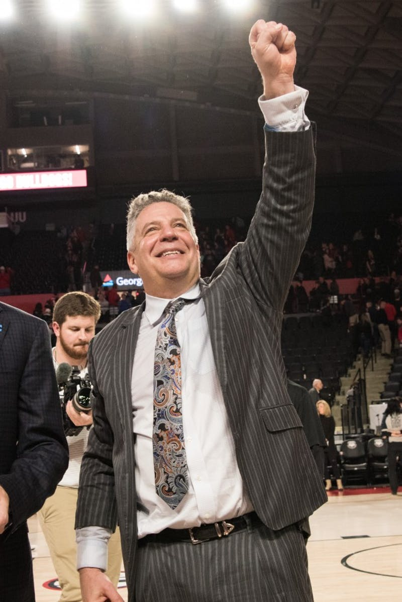Head Coach Bruce Pearl celebrates after Auburn's 78-61 victory in Auburn Basketball vs. Georgia on Saturday, Feb. 10, 2018, at Stegeman Coliseum in Athens, Ga.