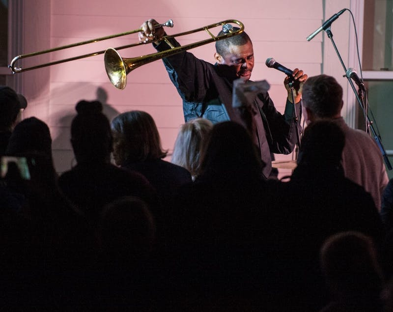 Jazz musician Glen David Andrews of New Orleans performs at Pebble Hill on Wednesday, Nov. 15 in Auburn, Ala.