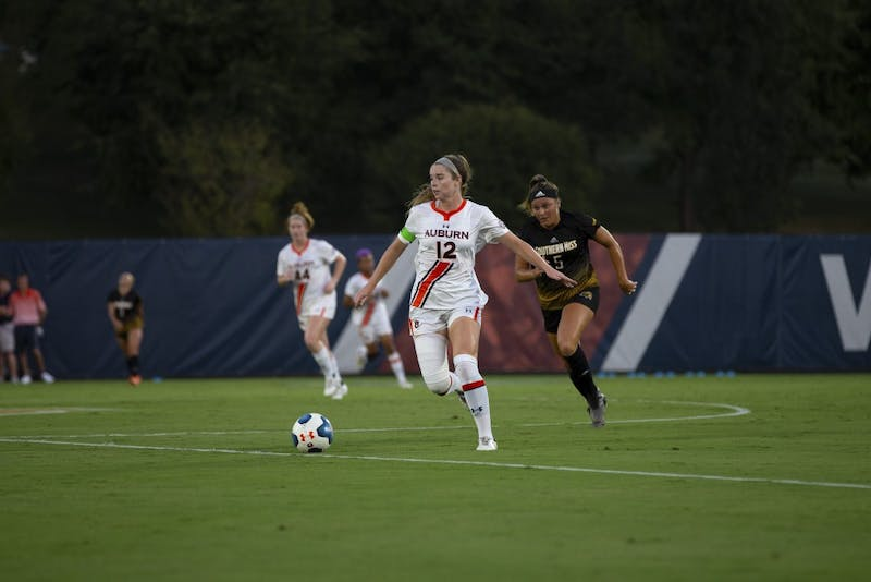 Sarah Houchin (12) kicks the ball during the Auburn vs. Southern Miss game Friday Sept. 13, 2019, in Auburn, Alabama.