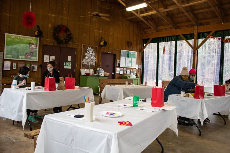 The Nature Art Series painting Valentine Day cards on Feb. 13, 2021, at Kreher Preserve Nature Center.