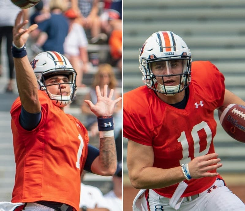 Joey Gatewood (1, left) and Bo Nix (10, right) during Auburn football's A-Day spring game on April 13, 2019, in Auburn, Ala.