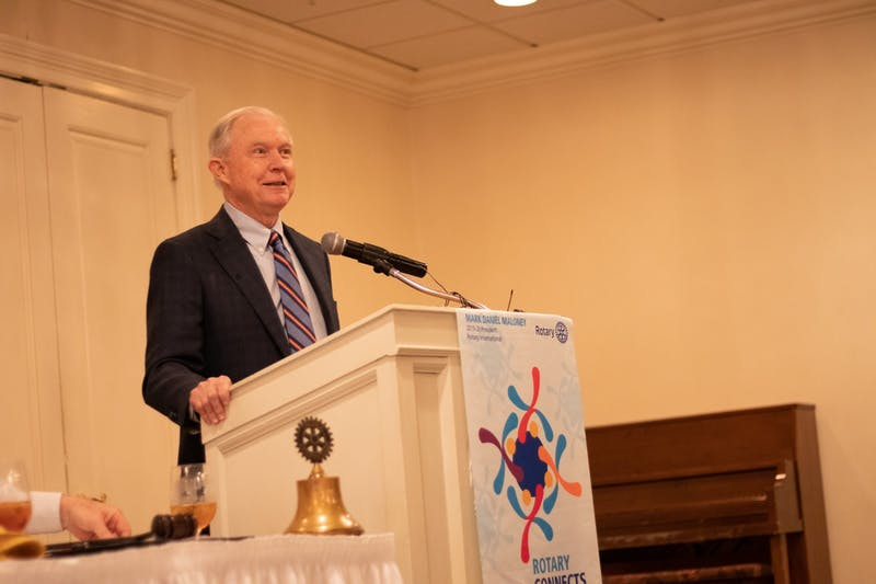 Former Attorney General Jeff Sessions speaks at Saugahatchee Country Club on Jan. 14, 2020 in Opelika, Ala.