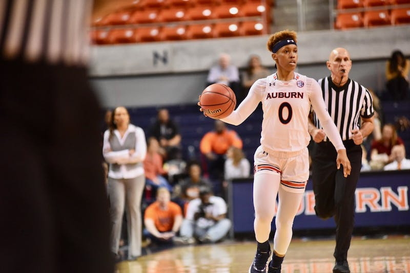 Daisa Alexander (0) drives the ball down the court during Auburn Women's Basketball vs. Kentucky on Feb. 5, 2019, in Auburn, Ala.