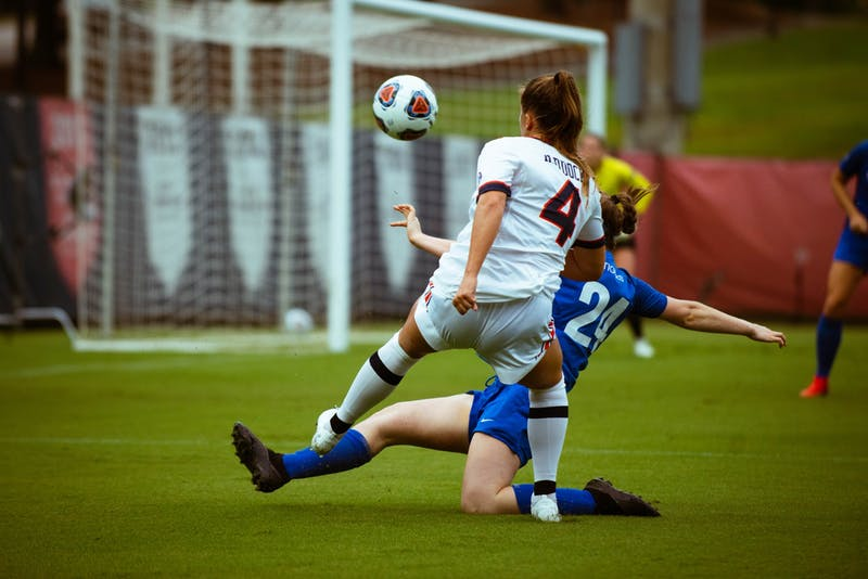 Anna Haddock crosses the ball against Memphis in Auburn, AL on August 10, 2021