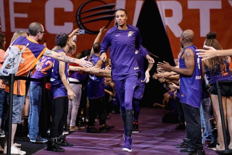 DeWanna Bonner of the Phoenix Mercury runs out onto the court on July 5, 2018, in Phoenix, Arizona.