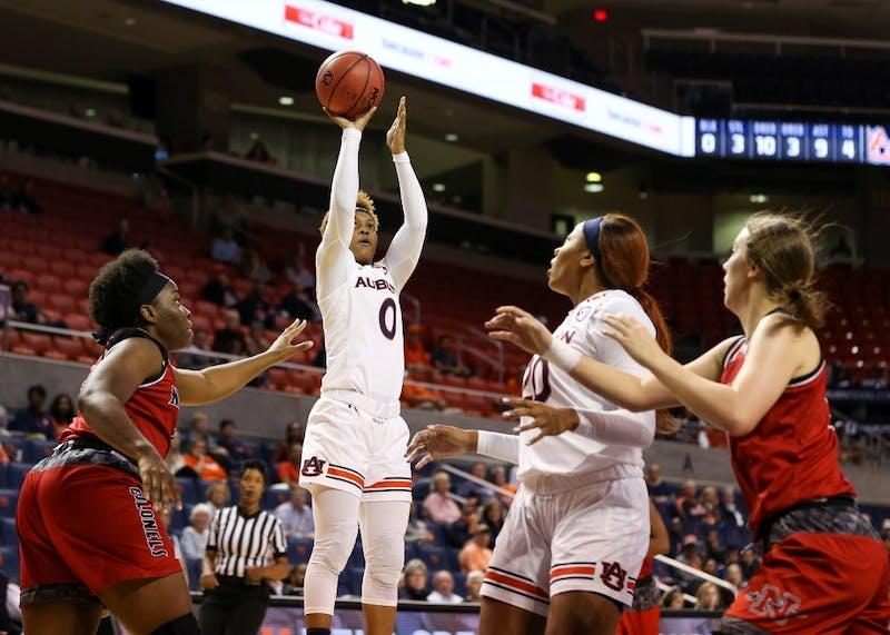 Daisa Alexander (0) shoots the ball during Auburn women's basketball vs. Nicholls State on Friday, Nov. 9, 2018, in Auburn, Ala.