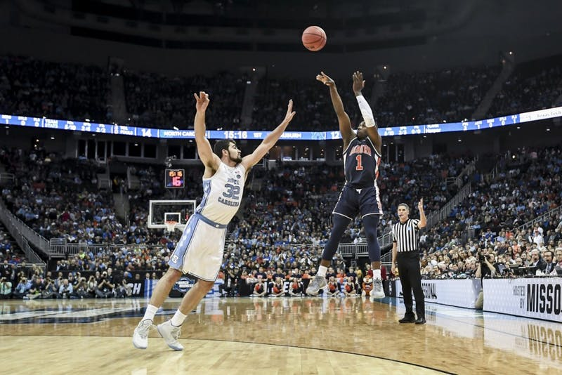 Jared Harper (1) shoots the ball during Auburn men's basketball vs North Carolina on Friday, March 29, 2019, in Kansas City, Mo.