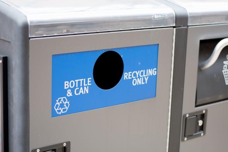 A recycling bin on campus in Auburn, Ala., on Friday, Jan. 26, 2018.