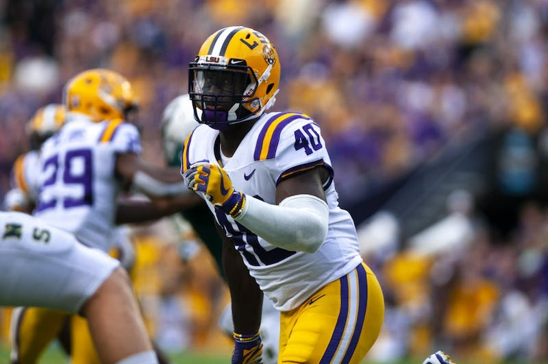 LSU junior linebacker Devin White (40) scans the field during the Tigers' 31-0 victory over Southeastern on Saturday, Sept. 8, 2018, in Tiger Stadium. Photo courtesy of Alyssa Berry / The Daily Reveille.