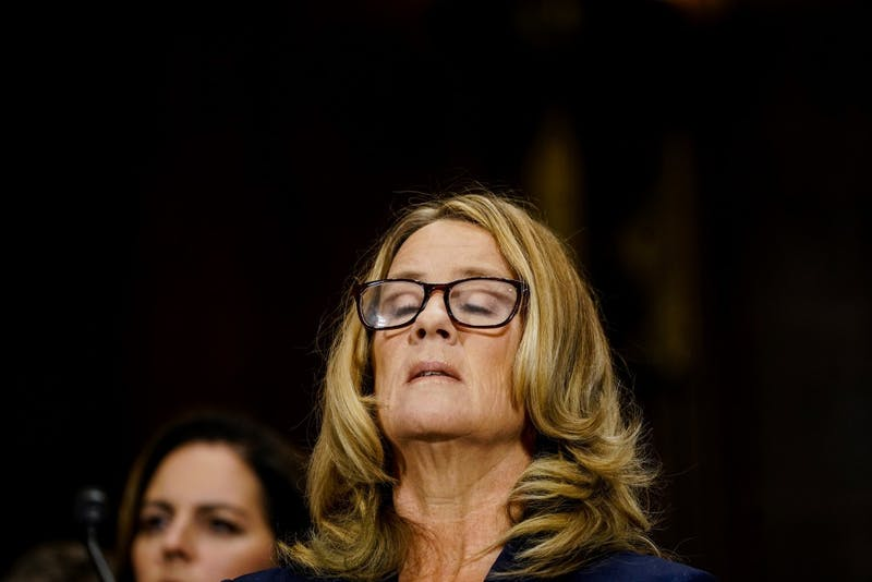 Christine Blasey Ford takes a breath at a Senate Judiciary Committee hearing on Thursday, Sept. 27, 2018 on Capitol Hill in Washington, D.C. (Melina Mara/Pool/Abaca Press/TNS)
