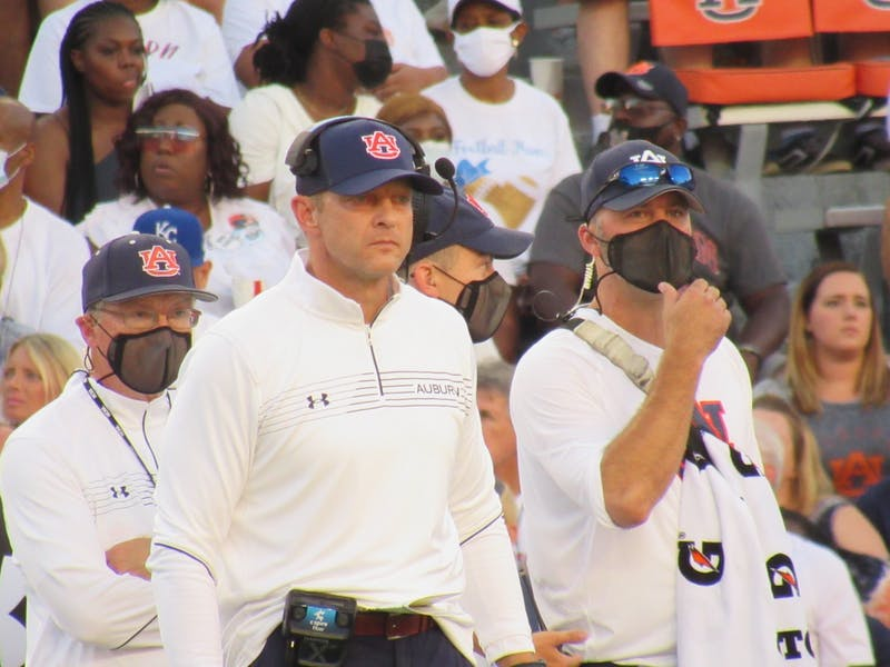 Bryan Harsin coaches from the sideline in a game against Akron on Sept. 4, 2021, at Jordan-Hare Stadium in Auburn, Alabama.