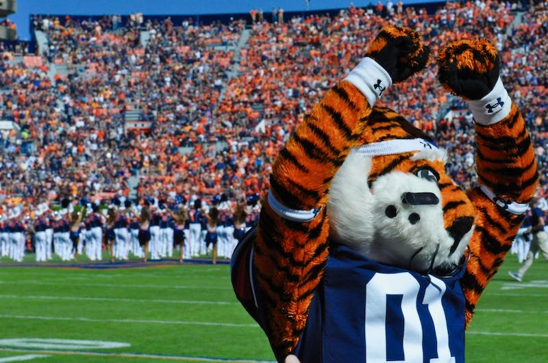 Aubie pumps up the crowd during Auburn Football vs. Tennessee on Saturday, Oct. 13, 2018 in Auburn, Ala.