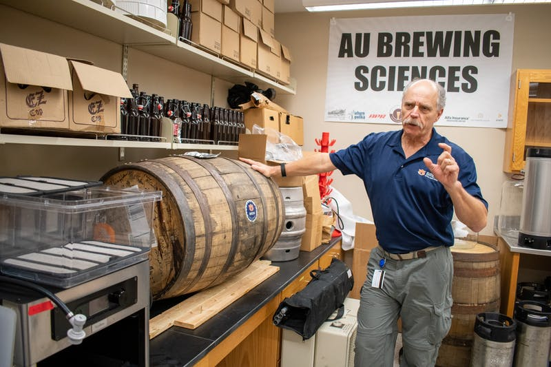 Richard Bird showcases a portion of the beer-making process.