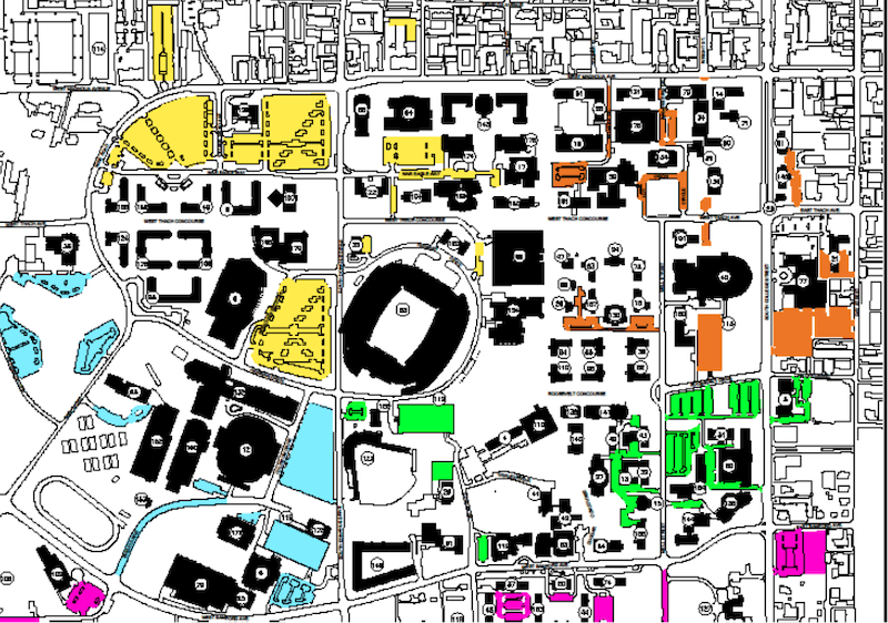 Diagram of the proposed lot-based parking system that would be introduced in August 2020.