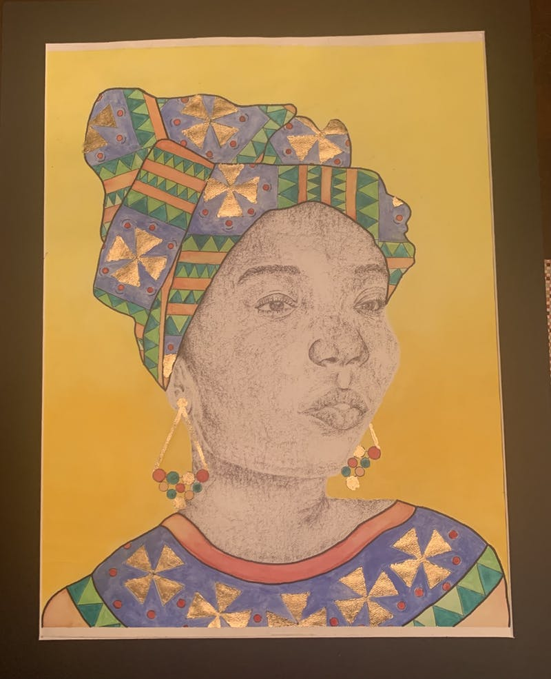"""Nylah Bluiett's piece """"La Femme"""" won first place in the artwork contest hosted by AUBGPSA."""