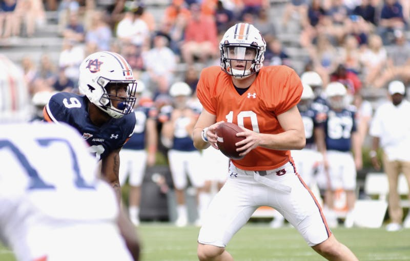 Bo Nix (10) looks to throw during Auburn's 2019 A-Day spring game on April 13, 2019, in Auburn, Ala.