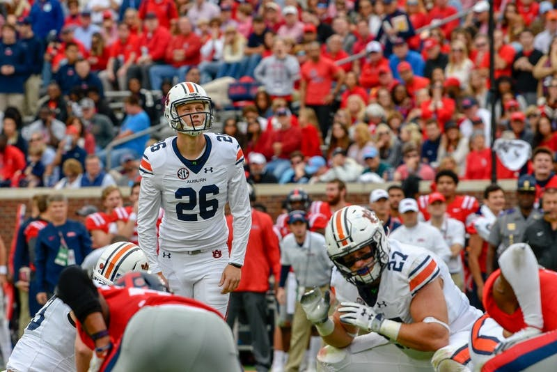 Anders Carlson (26) prepares to kick the ball during Auburn Football vs. Ole Miss on Saturday, Oct. 20, 2018, in Oxford, Miss.