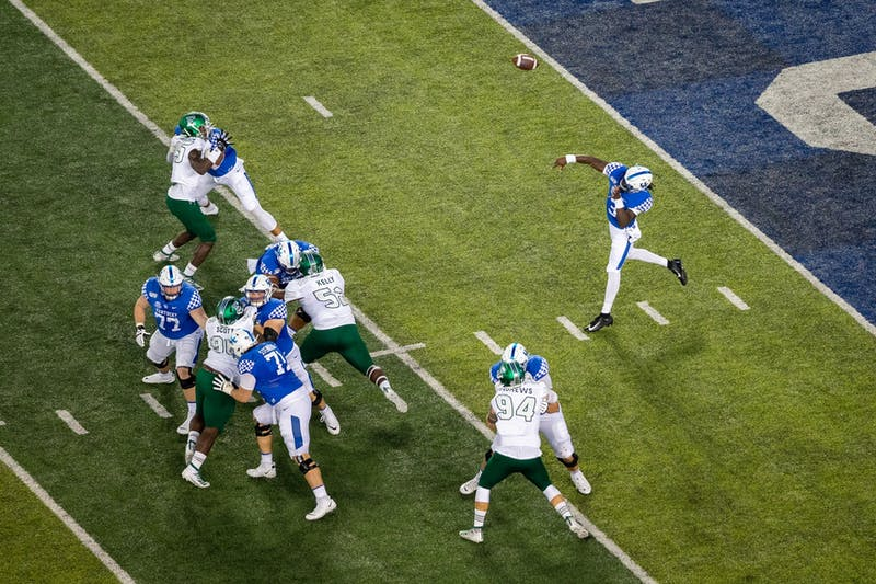 Kentucky Wildcats quarterback Terry Wilson (3) throws the ball down the field during the UK vs. Eastern Michigan University football game on Saturday, Sept. 7, 2019, at the University of Kentucky in Lexington, Kentucky. UK won 38-17. Photo by Michael Clubb | Staff | The Kentucky Kernel