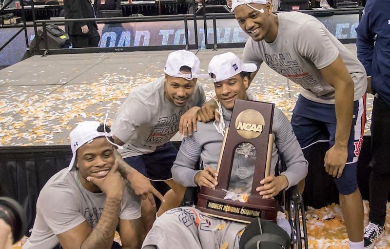 Auburn celebrates. Auburn basketball vs. Kentucky in the Midwest Regional Final of the 2019 NCAA Tournament on March 31, 2019, in Kansas City, Mo. Photo courtesy Lauren Talkington / The Glomerata.
