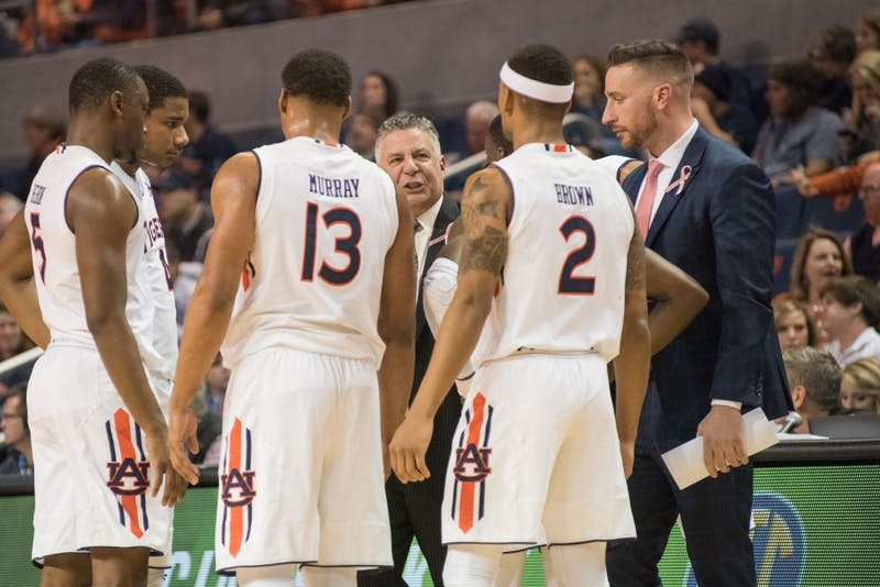 Head Coach Bruce Pearl coaches his team during a timeoutduring Auburn Basketball vs. Vanderbilt at Auburn Arena in Auburn, Ala. on Saturday, Feb. 3, 2018.
