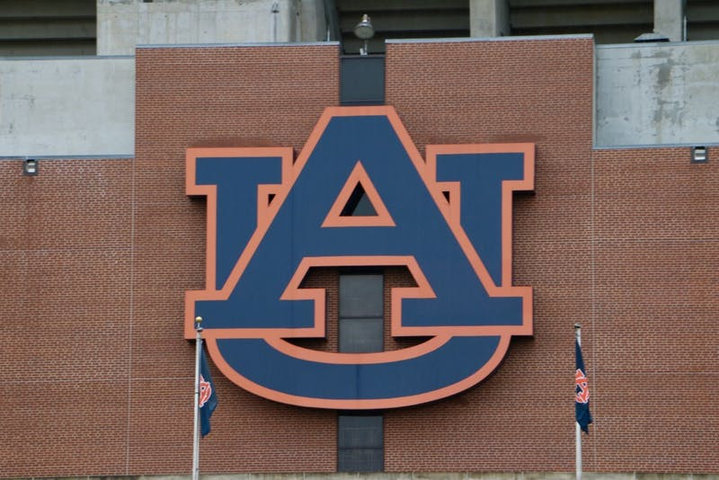 The Auburn Logo located on Jordan Hare Stadium on Tuesday, Oct. 15, 2019, in Auburn, Ala.