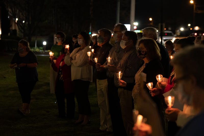 There have been 217 deaths due to COVID-19 in Lee County. Staff gathered at East Alabama Medical Center to remember their lives on on Wednesday, March 24,  2021, in Opelika, Ala.