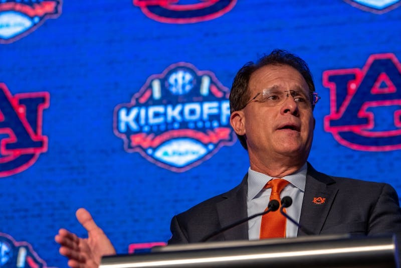 Gus Malzahn addresses the media at SEC Media Days at the Hyatt Regency Birmingham-Wynfrey Hotel on Thursday, July 18, 2019, in Hoover, Ala.